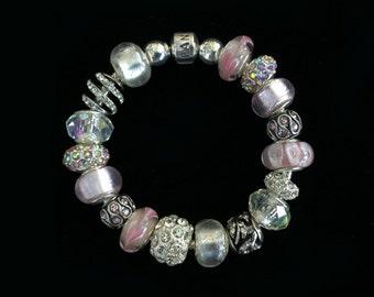 Genuine Pandora Bracelet -PRETTY IN PINK Pastel - with European Style Beads