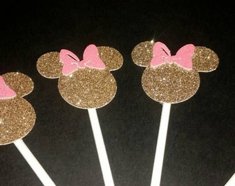 Minnie Mouse cupcake toppers. Pink and gold Minnie Mouse cupcake toppers. Gold, silver or black Minnie Mouse cupcake toppers. Set of 12
