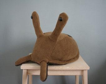 Steven slug, brown fleece and minky slug plush, made to order