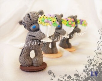 "Hand soap ""Teddy with flower pots"""