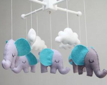 Baby Crib Mobile - Baby Mobile - Nursery Elephants Crib Mobile -Baby Elephants-You can pick your colors