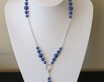 Blue pearls necklace
