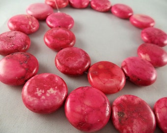 Dyed Pink Howlite Disc Shaped Beads - 20mm - 16 Inch Strand
