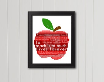 """Typography Art """"To teach is to touch lives forever"""" Teacher Appreciation Gift Favorite Teacher 8x10 5x7 INSTANT DOWNLOAD Printable Art"""