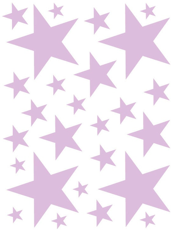 52 Light Purple Lavender Vinyl Star Shaped Bedroom Wall Decals Stickers Teen Kids Baby Nursery Dorm Removable Custom Made Easy to Install