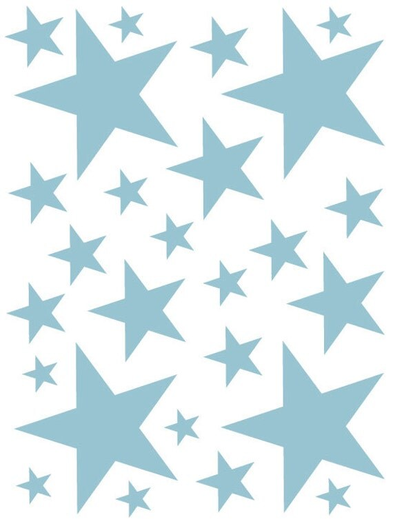 52 Powder Blue Vinyl Star Shaped Bedroom Wall Decals Stickers Stars Teen Kids Baby Nursery Dorm Room Removable Custom Made Easy to Install