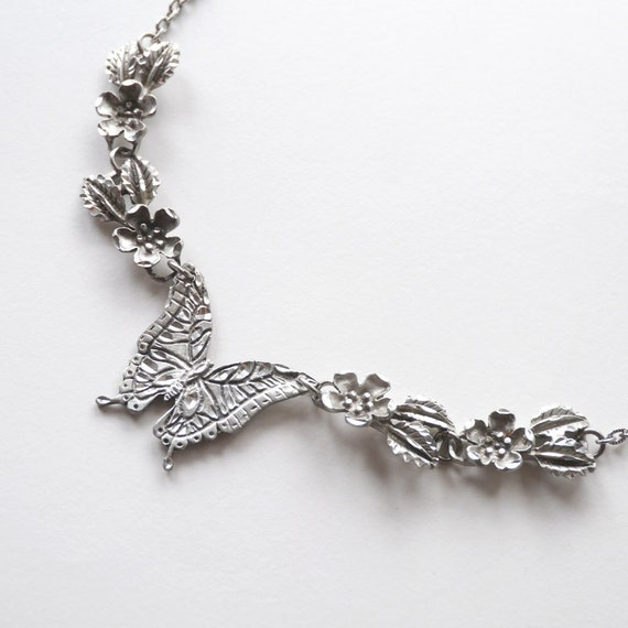 Vintage Silver Butterfly and Flowers Chain Necklace