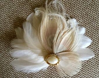 Feather Hair Accessory - Bridal