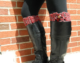 Ohio State Boot Cuffs - Crochet Boot Toppers - Team Boot Cuffs - OSU Boot Cuffs - Real Buckeye Accent