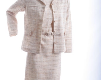 REDUCED - Elegantly Neutral Vintage Dress Two Piece