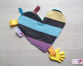 Heart Shaped Ribbon Taggie Blanket Silicone Teething Minky Babywearing Wrap - Yellow, Blue, Purple, Black, Stripes