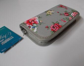 Floral crochet hook case/ organiser, grey
