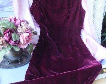 Vintage CHEONGSAM / Burgundy or Wine Velvet Cheongsam / Asian Wiggle Dress, 34 bust