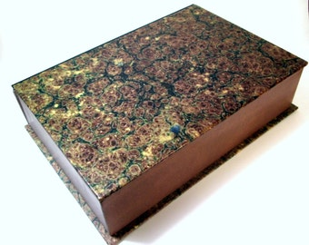 Decorative box, Remote control storage box, Vintage Marbled design lid and leather look box,  9 x 6 x 2 inches CUSTOM MADE