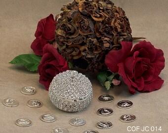 Silver Plated Round Shaped Arras Chest - COFJC014 - Arras de Boda - Unity Coin Holder - Wedding Coin Box - Arras de Matrimonio Cofre de Boda