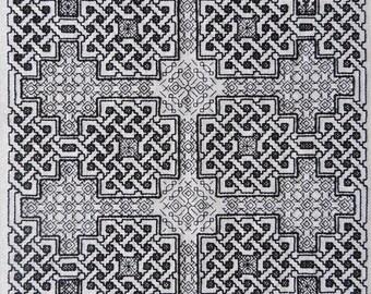 Celtic Blackwork pattern. Modern blackwork. Blackwork embroidery pattern. Celtic pattern. Celtic embroidery. Instant download PDF pattern