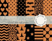 SALE! 50% OFF! Halloween Glitter Paper HALLOWEEN Party- Black and orange glitter backgrounds bats damask chevron stripes dots witch hats
