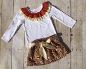 Girls Toddler Fall Outfit - Girls Thanksgiving Outfit - Fall Festival Outfit - Pumpkin Patch Outfit, Girls Shirt and Elastic Skirt