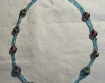 Turquoise and Purple Glass Beaded Choker