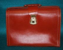 Vintage MUTUAL Split Cowhide Cognac Briefcase, Salesman's Case, Doctors, Lawyers Bag  Excellent! Mid Century