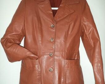 Caramel Boho leather Jacket Vintage 70s Small fitted Caramel Uruguay Womens clothing Fashion travel Blazer size 12 small medium Shirt Collar