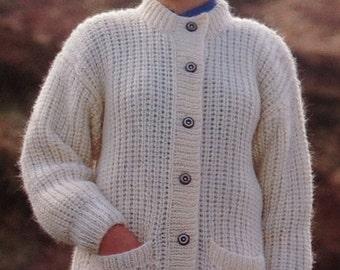 Knitting Pattern Girls/Ladies/Woman's Cardigan/Jacket Chunky/ Bulky size 28-40in  71-102cm