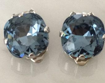Denim Blue Cushion Cut Crystal Clip On Earrings, Silver