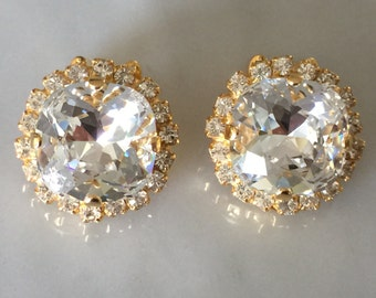 Swarovski Crystal Clip On Earrings, Crystal Clip On Earrings,  Bridal Crystal Clip on Earrings, Bridal Clip On Earrings