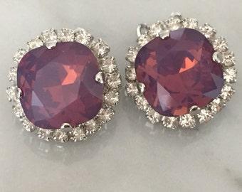 Swarovski Cyclamen Opal Crystal Clip On Earrings, Cyclamen Opal and Crystal Clip On Earrings, Swarovski Purple Opal Clip On Earrings