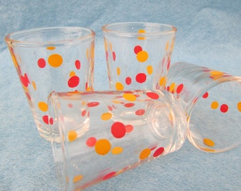 Set Of Four French Shot Glasses Mid Century Glass