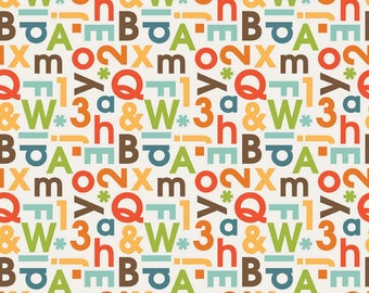 1 Yard School Days By Zoe Pearn for Riley Blake Designs 4822- Cream Alphabet