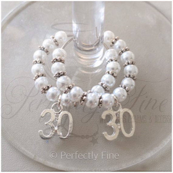 Gifts For A Pearl Wedding Anniversary: 30th Pearl Wedding Anniversary Wine Glass Charms 30th