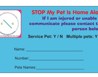 Alert  card, emergency card, pet emergency card, pet medical card, medical card.