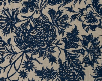 Custom Drapes- Floral Drapes, Pinch Pleat Curtains, Linen-Rayon, Drapery Panels, Window Treatments, Made-to-Order, *Garden*, Blue
