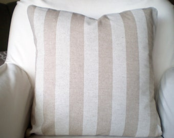 Tan Off White Decorative Throw Pillow Covers, Cushions, Tan White Stripe Canopy, Linen Look Pillows Couch Bed, Tone on Tone, One ALL SIZES