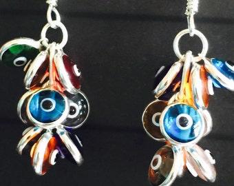 925k silver handmade colourful evil eye earrings