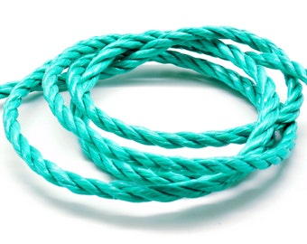 Lot of 2 meters of rope nylon 3 Strand green 6 mm
