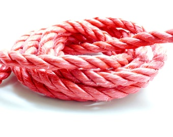 x 1 meter nylon rope 3-Strand Red 10 mm