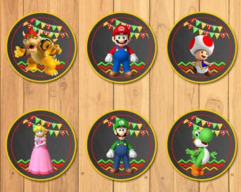 Super Mario Brothers Cupcake Toppers Chalkboard * Super Mario Brothers Birthday * Super Mario Brothers Stickers * Super Mario Party Favors