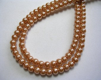 Dusty Peach Pearls 4mm Glass Pearls Round Celestial Glass Pearls Shimmery Pearl Rounds Apricot light Bronze 4mm Pearl Round 100 Pearl Rounds