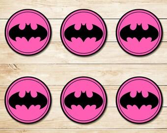 Pink Batman Sticker // Pink Batman Cupcake Topper // Batman Party Favors // Batman Party Supplies // Batman Logo // Superhero