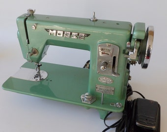 Vintage 1950's Morse Sewing Machine Model R-5L Industrial era Sew Avocado Green Working Condition Mid Century Retro Chrome Cosmic Fabric