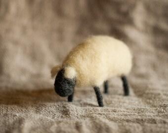Handmade Needle Felted Sheep - White / Black