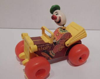 Vintage Fisher Price Jolly Jalopy 724 Wooden Clown