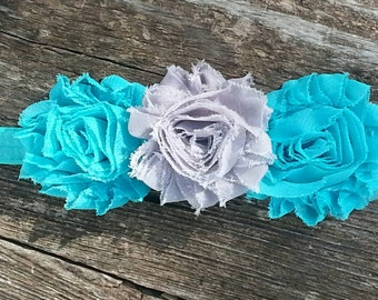 Baby headband, flower headband, flower girl headband, mint and gray headband, floral headband, mint headband, gray headband, shabby headband