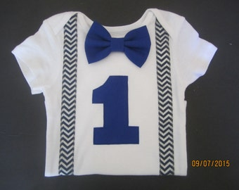 Boy navy blue chevron suspender outfit, Boy first birthday shirt, navy blue chevron shirt, blue bow tie shirt, royal blue bow tie shirt