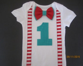 Boy red white striped suspender outfit, boy candy cane birthday shirt, red stripe shirt, red turquoise bow tie shirt, boy turqoise outfit