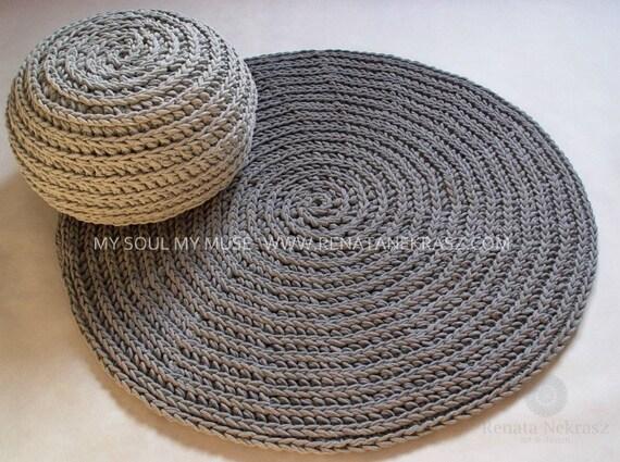 gris cordon en coton tapis rond tapis au crochet tapis au. Black Bedroom Furniture Sets. Home Design Ideas