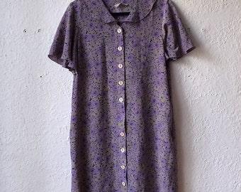 Vintage Green Black purple floral dress short sleeve button-down woman