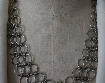 Triple Stainless Linked Chain Mesh Necklace Set